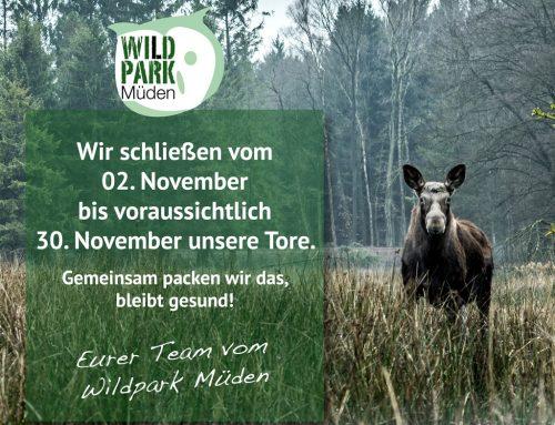 Der Wildpark Müden schließt vom 02.11.2020 bis vorraussichtlich 30.11.2020