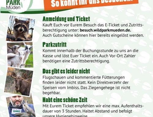 Der Wildpark Müden hat ab dem 08.03.2021 wieder geöffnet.